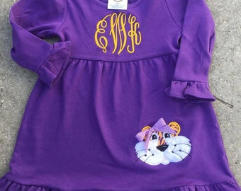 LSU Tiger Girls Dress-LSU-Louisiana State University Dress-Birthday Gift-Tiger Dress-Purple Dress-Monogram Girls Dresses
