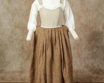 18th Century Colonial Style Women's Petticoat of Linen - Made to Measure