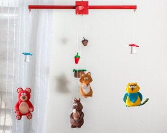 crib mobile,Jungle mobile, fox mobile, owl mobile, nursery mobile, baby mobile, nature mobile, baby girl mobile, baby boy mobile,bear mobile