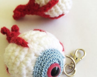 Eyeball Keychain, Eye Keychain, Doctor Gifts, Tween or Teen Keychain, Holiday Ornament, Eyeball Plush