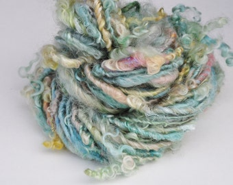 Handspun Curly Yarn - Pretty Lock Spun - Sea Dream - 36 Yards