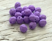 Purple Glass Beads- Czech glass beads faceted round matte finish 6mm 20 pack