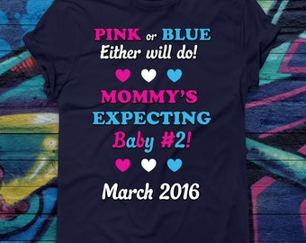 Custom Pregnancy Announcement T-shirt Pink or Blue Baby #2 Tee Birth Reveal Tshirt New baby Shirt Maternity Shirt Mommy to be tee