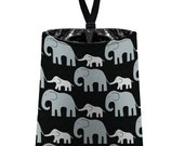Car Trash Bag // Auto Trash Bag // Car Accessories // Car Litter Bag // Car Garbage Bag - Elephants (grey on black) // Car Organizer