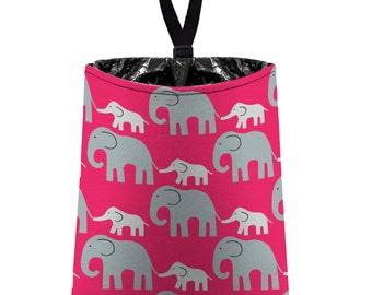 Car Trash Bag // Auto Trash Bag // Car Accessories // Car Litter Bag // Car Garbage Bag - Elephants (grey on hot pink) // Car Organizer