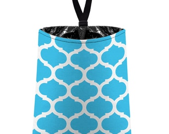Car Trash Bag // Auto Trash Bag // Car Accessories // Car Litter Bag // Car Garbage Bag - Moroccan Trellis - Aqua and White