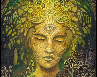 Sophia Goddess of Wisdom 16x20 Poster Fine Art Print Pagan Mythology Art Nouveau Psychedelic Green Forest Goddess Art