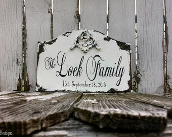 CUSTOM NAME SIGN, Wedding Sign, Vintage Sign, Bridal Gift, Family Name Sign, Monogram Sign, Personalized Sign, Shabby Chic Sign