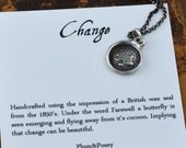 Butterfly wax seal jewelry - Butterfly Necklace from an antique wax seal - 116