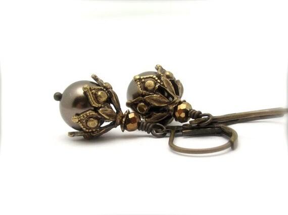 Swarovski Pearl Earrings, Steampunk Wedding Earrings, Khaki Brown Earrings, Boho Bohemian, Victorian Dangle Drop, Clip On Earrings