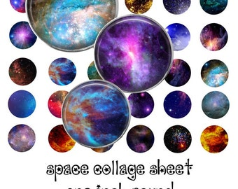 Space Digital Collage Sheet - 1 Inch Circles - Instant Download