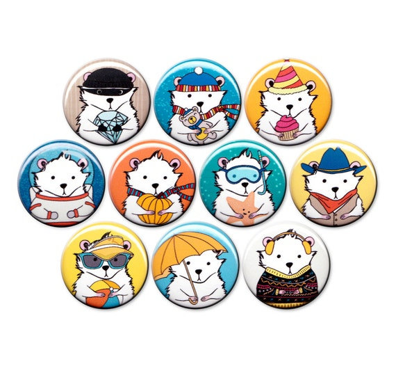 A Hamster For All Occasions Pin Set of 10 One Inch Pinback Buttons
