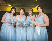Bridesmaids dresses polka dot tulle vintage style bridesmaid dress 50s retro style dress uk blue ivory
