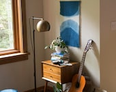 Hand Dyed Linen and Indigo Wall Hanging in Cresent, Anna Joyce, Hand Dyed