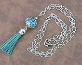 OOAK, Handmade Turquoise Blue and Cobalt Blue Leather Tassel Necklace, Ornate,  Sparkly, Silver Etched Chain Pendant Necklace