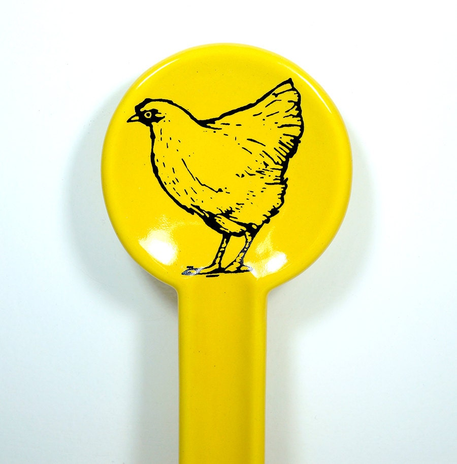 spoon rest with a chicken/hen print, shown in Lemon Butter Made to Order / Pick Your Colour / Pick Your Print