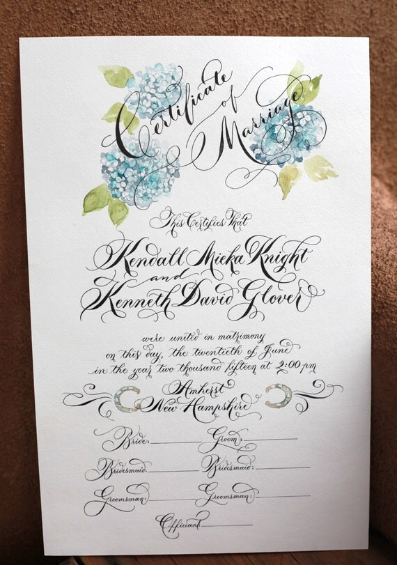 Marriage certificate wedding custom calligraphy
