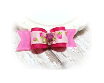 Dog Bows, Pink Roses Show Dog Bow, Puppy Dog Bows, Fancy Pink Dog Bow, Small Dog Bows, Pet Accessory, Girl Dog Bow, Granny Roses