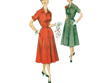 50s Button Front Fitted Dress vintage pattern 33-28-37  Shirt Dress Gored Skirt Madmen New Look