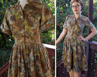 Through the FOREST 1950's Vintage Light Brown Blue + Olive Cotton Day Dress with Gold Buttons // size Small