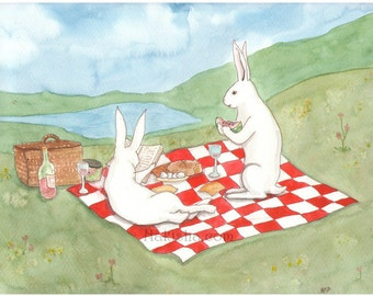 Our Picnic - Fine Art Print - Rabbits