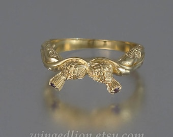 THISTLE BRANCH 14k gold band with lab Alexandrites