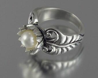 WHITE LOTUS freshwater pearl silver ring