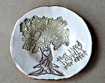 Ceramic Ring Dish edged in gold happily ever after wedding gift