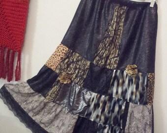 JUNGLE GROOVE - patchwork, animal print, a-line skirt, boho, hippie, chic, original, layered, whimsical, swirly, skirt,