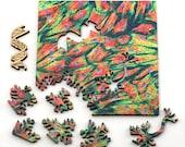 Cytoskeleton Puzzle - microscopic art jigsaw puzzle, laser cut wood