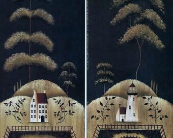 2 Saltbox Lighthouse Country Folk Art Prints by Donna Atkins. Sheep, Sailboat.