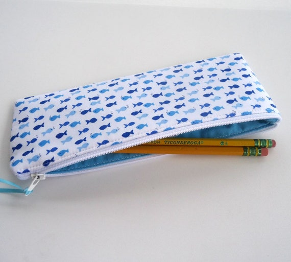 Tiny blue fish pencil case zipper pouch by for Fish pencil case