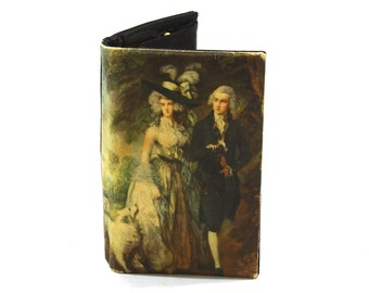 50s Italian Silk Wallet / Vintage 1950s Printed Satin Billfold with Rococo Portrait / Coin Purse