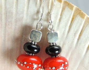 FUN in BLACK and WHITE Handmade Lampwork Bead Dangle Earrings