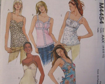 McCall's UNCUT size 4. 6, 8, 10  Women's Summer Camisole Tops Pattern # M4454