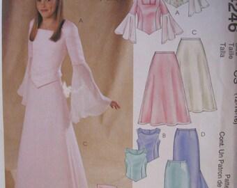 McCall's UNCUT size 12, 14, 16 Girls plus Princess bridal top and skirt pattern # 4246