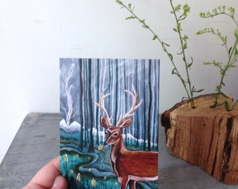 Smoke Signals, blank post card, deer buck, forest woodland wild adventure,  glossy finish 4 x 6
