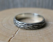 woodgrain ring THIN OAK sterling silver Made To Order size