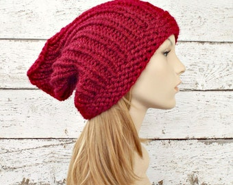Red Womens Hat Slouchy Hat - Quinn Red Gnome Beanie - Poinsettia Red Knit Hat - Red Hat Red Beanie Red Gnome Hat Womens Accessories