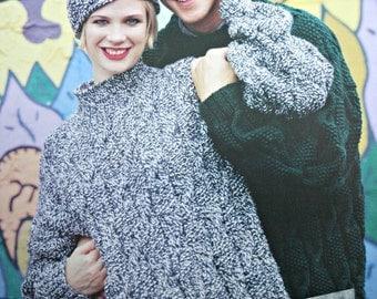 Sweater Knitting Pattern Hat Beehive Patons 1144 Sizes 30 - 44 Inches 76 - 112 cm Men Women Turtleneck Chunky Yarn Paper Original NOT a PDF