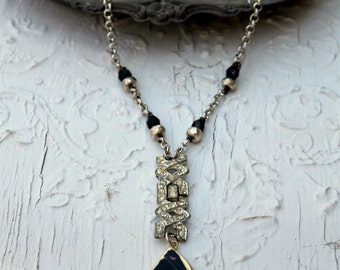 Vintage Art Deco Rhinestone, Onyx, Pyrite and Agate One of a Kind Necklace...Harlow Two