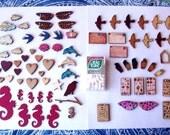 massive destash of various wood shapes-lot of 74 pieces!