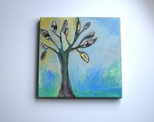 "faith-original, OOAK folk art painting, 12"" x 12"" canvas, ready to hang"