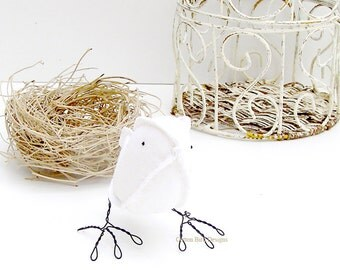 2nd Wedding Anniversary Cotton Bird White. This item is made to order allow 10 working days plus delivery time
