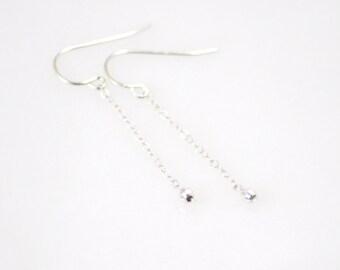 Long dangle earrings - delicate silver earrings - tiny bead drop earrings - faceted bead earrings - dainty silver earrings - sterling silver