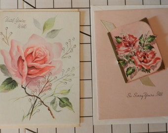 2 Unused Vintage Antique Cards to Say Get Well Soon with Roses and a little book that opens