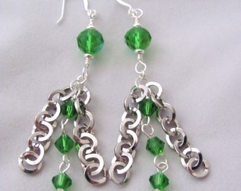 Emerald Green Earrings Round Silver Chain Dangle Earrings