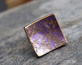 Square ring. Polymer clay. Adjustable. Purple Gold.Abstract design. Clay fashion jewelry. Modern Contemporary Casual. Fimo Clay and Metal.