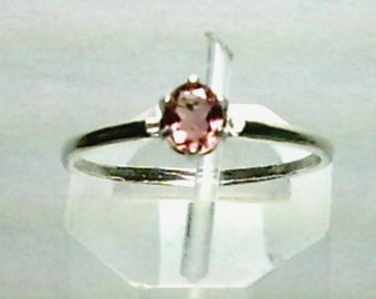 5x4mm Pink Tourmaline Gemstone in 925 Sterling Silver Ring Size 7