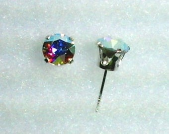 6mm Multicolor Swarovski Crystal Chatons in 925 Sterling Silver Stud Earrings  SnapsByAnthony